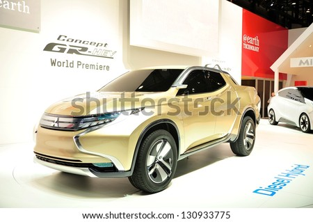 GENEVA, MAR 5: Mitsubishi Concept GR-HEV, World Premiere, presented at the 83rd Geneva Motor Show, in Switzerland on March 5, 2013.