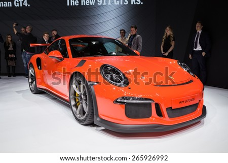 GENEVA MAR 3 Porsche 911 GT3 RS car presented at the 85th International Motor Show in Geneva Switzerland on March 3 2015