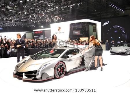 GENEVA, MAR 5: Press conference to present the Lamborghini VENENO, exclusive super car from Lamborghini, presented at the 83rd Geneva Motor Show, in Switzerland on March 5, 2013.