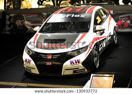 GENEVA, MAR 5: Racing car from Honda Racing, presented at the 83rd Geneva Motor Show, in Switzerland on March 5, 2013.