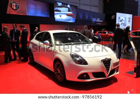 GENEVA - MARCH 8: A alfa romeo  giulietta car on display at 82th International Motor Show Palexpo-Geneva on March 8, 2012 in Geneva, Switzerland.