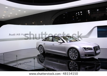 GENEVA - MARCH 4 : A Audi A8 Hybird car on display at 80th International Motor Show Palexpo-Geneva on March 4, 2010 in Geneva, Switzerland.