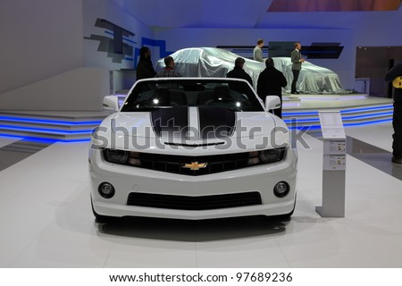 GENEVA, MARCH 8 : A Chevrolet camaro Automat  car on display at 82th International Motor Show Palexpo-Geneva on March 8, 2012 in Geneva, Switzerland.