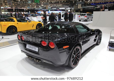 GENEVA, MARCH 8 : A Chevrolet corvette car on display at 82th International Motor Show Palexpo-Geneva on March 8, 2012 in Geneva, Switzerland.