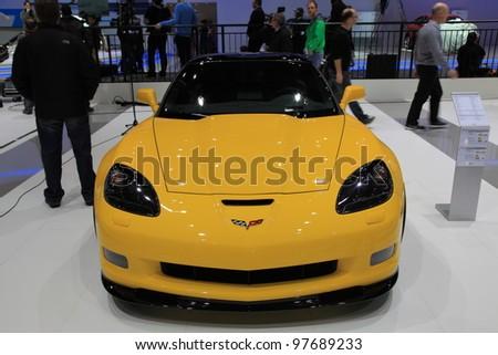 GENEVA, MARCH 8 : A Chevrolet corvette car on display at 82th International Motor Show Palexpo-Geneva on March 8, 2012 in Geneva, Switzerland.