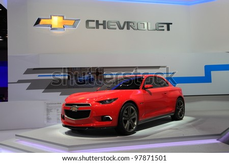 GENEVA, MARCH 8 : A  Chevrolet Youth Concept CODE 130R car on display at 82th International Motor Show Palexpo-Geneva on March 8, 2012 in Geneva, Switzerland.