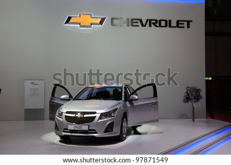 GENEVA, MARCH 8 : A corvette cruze on display at 82th International Motor Show Palexpo-Geneva on March 8, 2012 in Geneva, Switzerland.