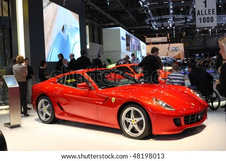 GENEVA - MARCH 4 : A Ferrari car show on display at 80th International Motor Show Palexpo-Geneva on March 4, 2010 in Geneva, Switzerland.