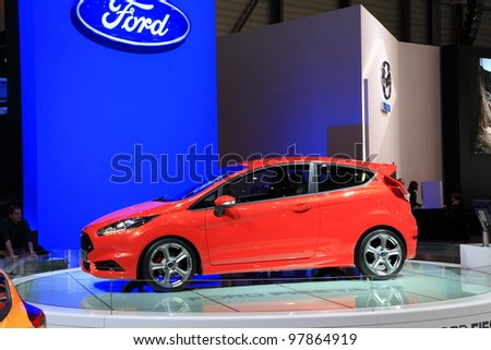 GENEVA, MARCH 8 : A Ford Fiesta st car on display at 82th International Motor Show Palexpo-Geneva on March 8, 2012 in Geneva, Switzerland.