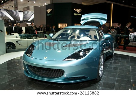 GENEVA - MARCH 4: A Lotus Evora car on display at 79th Geneva Motor Show, in Geneva, Switzerland March 4, 2009. More than 130 vehicles being introduced.