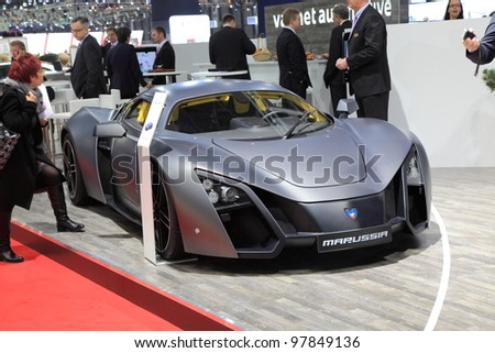 GENEVA, MARCH 8 : A MARUSSIA Valmet automotive car on display at 82th International Motor Show Palexpo-Geneva on March 8, 2012 in Geneva, Switzerland.