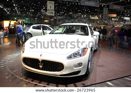 GENEVA - MARCH 7 : A MASERATI GranTurismo car on display at 79th International Motor Show Palexpo-Geneva on March 7, 2009 in Geneva, Switzerland. More than 130 vehicles being introduced. - stock photo
