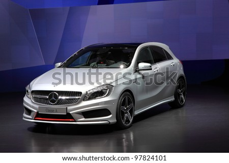 GENEVA - MARCH 8: A mercedes benz Classe A car on display at 82th International Motor Show Palexpo-Geneva on March 8, 2012 in Geneva, Switzerland. - stock photo