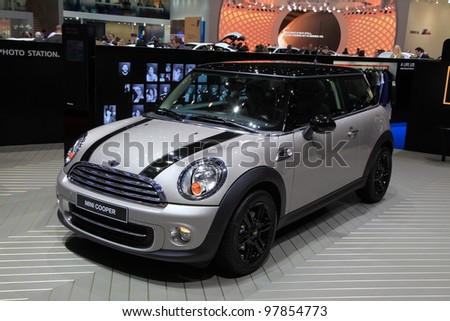 GENEVA - MARCH 8: A MINI COOPER car on display at 82th International Motor Show Palexpo-Geneva on March 8, 2012 in Geneva, Switzerland.