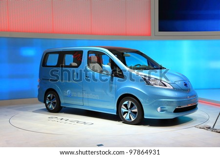 GENEVA, MARCH 8 : A Nissan e-NV200 concept zero emission car on display at 82th International Motor Show Palexpo-Geneva on March 8, 2012 in Geneva, Switzerland.