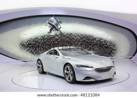 GENEVA - MARCH 4 : A Peugeot car on display at 80th International Motor Show Palexpo-Geneva on March 4, 2010 in Geneva, Switzerland.
