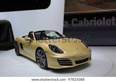 GENEVA - MARCH 8: A Porsche boxster  car on display at 82th International Motor Show Palexpo-Geneva on March 8, 2012 in Geneva, Switzerland.