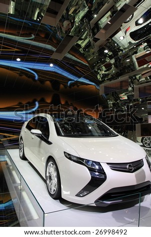 GENEVA - MARCH 7 : An  Opel Ampera car on display at 79th International Motor Show Palexpo-Geneva on March 7, 2009 in Geneva, Switzerland. More than 130 vehicles were introduced.
