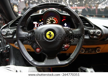 GENEVA MARCH 3 Ferrari 488 GTB car on display at 85th international Geneva motor Show at Palexpo-Geneva on March 3 2015 at Geneva Switzerland