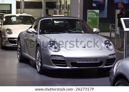 GENEVA - MARCH 7: Porsche Carrera 4s on display at the 79th International Motor Show Palexpo-Geneva on March 7, 2009.