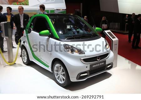 GENEVA, MARCH 3: smart electric drive car on display at 85th international Geneva motor Show at Palexpo-Geneva on March 3, 2015 at Geneva, Switzerland.