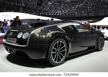 geneva march 1 supercar bugatti veyron 16 4 super sport at the 81st geneva motor show in. Black Bedroom Furniture Sets. Home Design Ideas