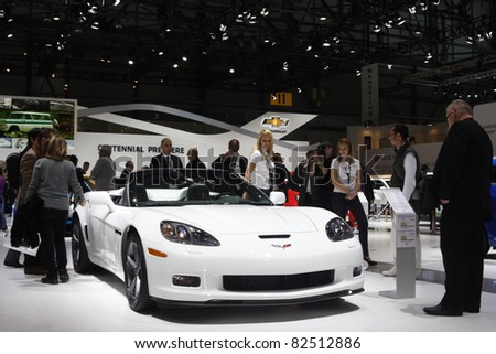 GENEVA - MARCH 2: The Chevrolet Corvette on display at the 81st International Motor Show Palexpo-Geneva on March 2, 2011 in Geneva, Switzerland.