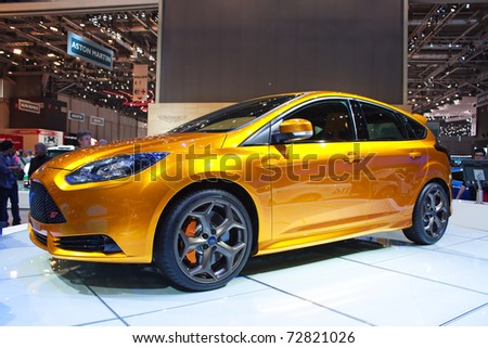 GENEVA - MARCH 8: The Ford Focus ST concept car on display at the 81st International Motor Show Palexpo-Geneva on March 8; 2011  in Geneva, Switzerland.