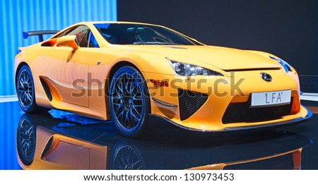 GENEVA MARCH 8 The Lexus Toyota LFA on display at the 81st International Motor Show Palexpo-Geneva on March 8 2011 in Geneva Switzerland