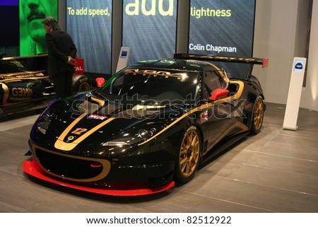 GENEVA - MARCH 2: The Lotus Evora race car on display at the 81st International Motor Show Palexpo-Geneva on March 2, 2011 in Geneva, Switzerland.