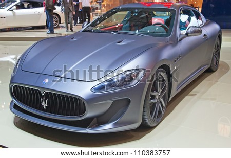 GENEVA - MARCH 8: The Maseratti Gran Turismo on display at the 81st International Motor Show Palexpo-Geneva on March 8, 2011 in Geneva, Switzerland.