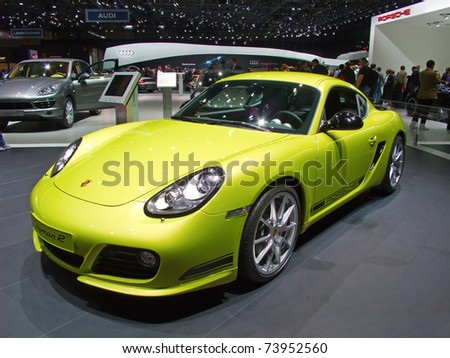 GENEVA - MARCH 8: The Porsche Cayman R on display at the 81st International Motor Show Palexpo-Geneva on March 8; 2011  in Geneva, Switzerland.