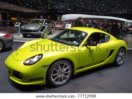 GENEVA - MARCH 8: The Porsche Cayman R on display at the 81st International Motor Show Palexpo-Geneva on March 8, 2011  in Geneva, Switzerland.