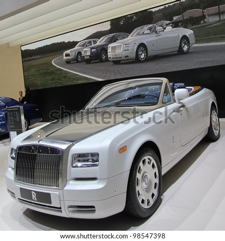 GENEVA - MARCH 16 : the Rolls Royce Phantom serie 2 on display at the 82nd International Motor Show Palexpo - Geneva on March 16; 2012 in Geneva, Switzerland.