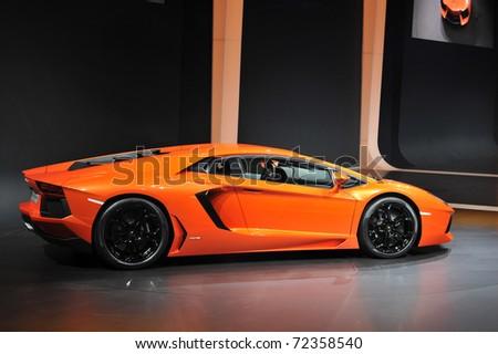 GENEVA - MARCH 1: World Premiere showing of the Lamborghini Aventador on display at Geneva International Motor Show at Palexpo Geneva Centre, March 1, 2011 in Geneva, Switzerland.