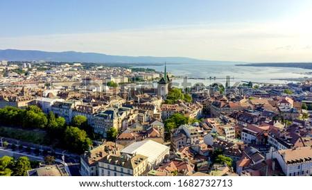 Geneva, Switzerland. Flight over the city. Geneva Cathedral, Aerial View   Foto stock ©