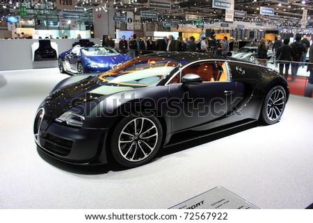 GENEVA, Switzerland - MARCH 3 : A Bugatti veyron car on display at 81th International Motor Show Palexpo-Geneva on March 3, 2010 in Geneva, Switzerland.