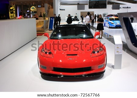 GENEVA, Switzerland - MARCH 3 : A Chevrolet  Corvette car on display at 81th International Motor Show Palexpo-Geneva on March 3, 2010 in Geneva, Switzerland.