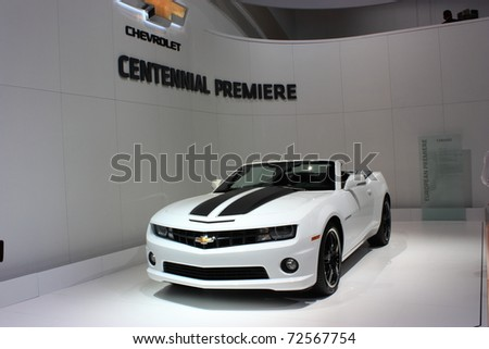 GENEVA, Switzerland - MARCH 3 : A Chevrolet   premiere car on display at 81th International Motor Show Palexpo-Geneva on March 3, 2010 in Geneva, Switzerland.