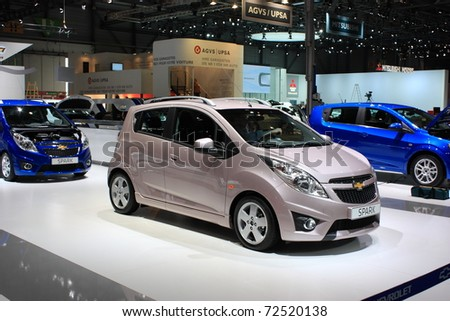 GENEVA, SWITZERLAND - MARCH 3 : A  Chevrolet SPARK car on display at 81th International Motor Show Palexpo-Geneva on March 3, 2010 in Geneva, Switzerland.
