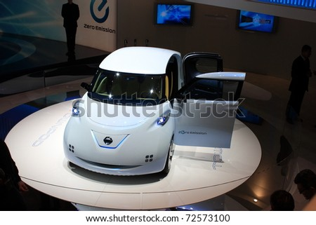 GENEVA, Switzerland - MARCH 3 : A NISSAN TOWNPOD ZERO emission car on display at 81th International Motor Show Palexpo-Geneva on March 3, 2010 in Geneva, Switzerland.