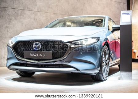 Geneva, Switzerland, March 05, 2019: all new Mazda 3 Fourth generation at Geneva International Motor Show, compact car manufactured in Japan by Mazda