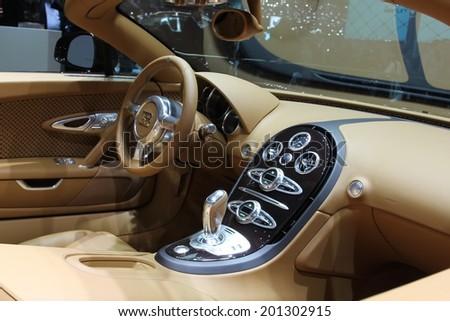 GENEVA, SWITZERLAND - MARCH 4, 2014: 2014 Bugatti Veyron Rembrandt Bugatti presented at the 84th International Geneva Motor Show on March 4, 2014 in Palexpo, Geneva, Switzerland #201302915