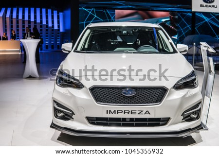 Geneva, Switzerland, March 06, 2018: metallic white all-new Subaru Impreza at 88th Geneva International Motor Show GIMS