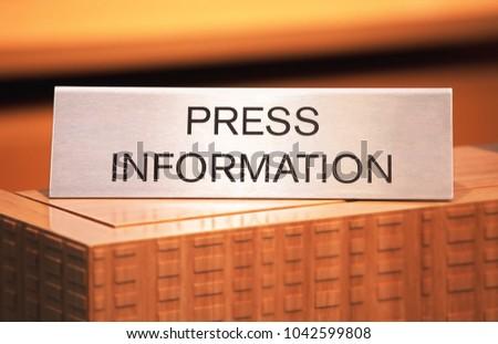 GENEVA, SWITZERLAND - March 7th, 2018: Press information stand in Volvo exhibition site in 88th Geneva International Motor show #1042599808