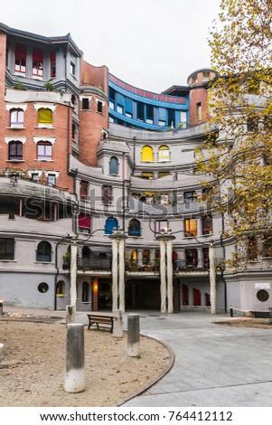 GENEVA, SWITZERLAND - NOVEMBER 14, 2016: Schtroumpfs Building (1984), Grottes quarter. Buildings are reminiscent of Spanish artist Gaudi or Viennese Hundertwasser. #764412112