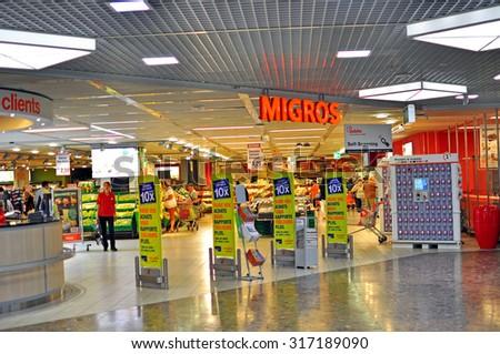 GENEVA, SWITZERLAND - SEPTEMBER 3: Entrance of Migros grocery store in Geneva on September 3, 2015. Migros is Switzerland\'s largest retail company.