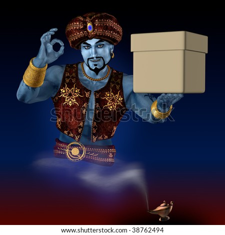 Genie from lamp bring the box. 3D render. Illustration.