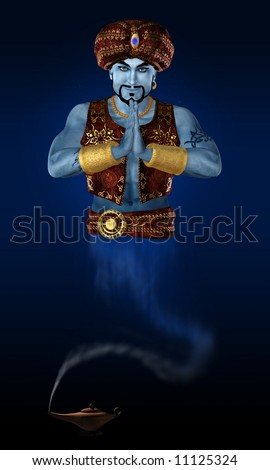 Genie from lamp. 3D render. - stock photo