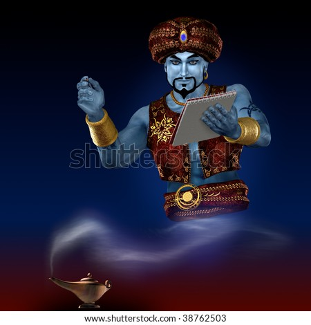 Genie from lamp with writing-pad. 3D render. Illustration.